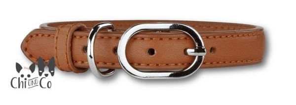 P2G LEATHER COLLAR Halsband Cognac/Silber