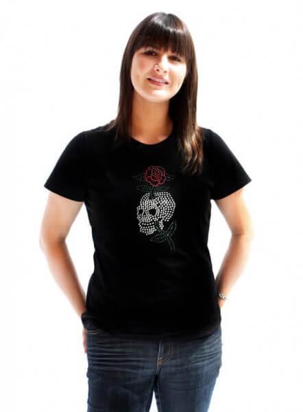 UP SKULL & ROSE Frauchen-T-Shirt