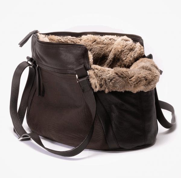 ITALIAN LIVING Zipp-it Leder Schlangenoptik Hundetasche Braun