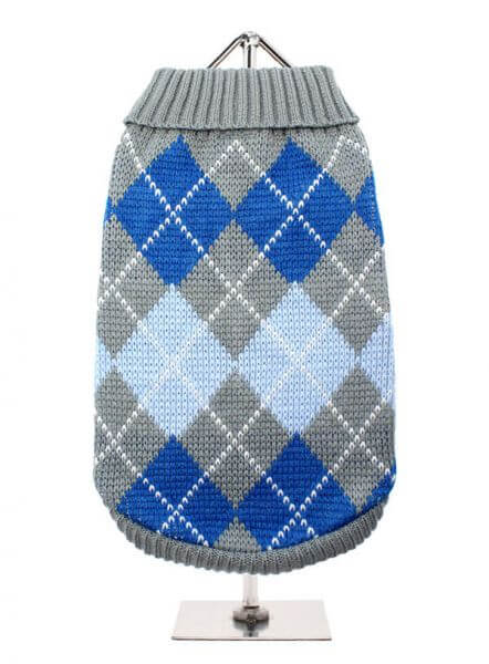 UP GRAU/BLAU ARGYLE Pullover